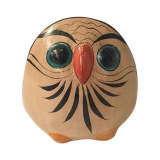 Mid-Century Folk Painted Owl