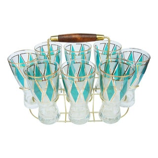 Mid-century Cocktail Glass Set with Caddy