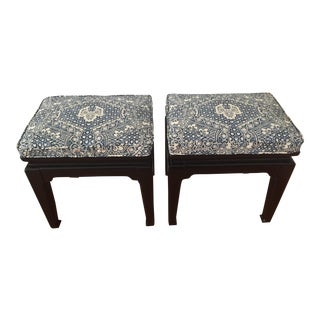 Ralph Lauren Upholstered Vintage Ming Stools - A Pair