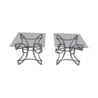 Glass Top Chrome Low End Tables - A Pair