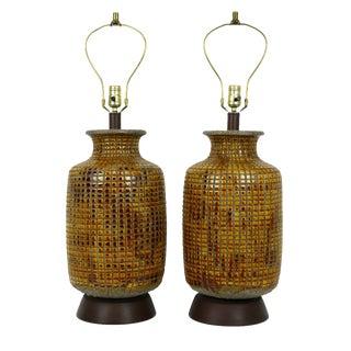 Italian-Style Drip Glaze Table Lamps - A Pair