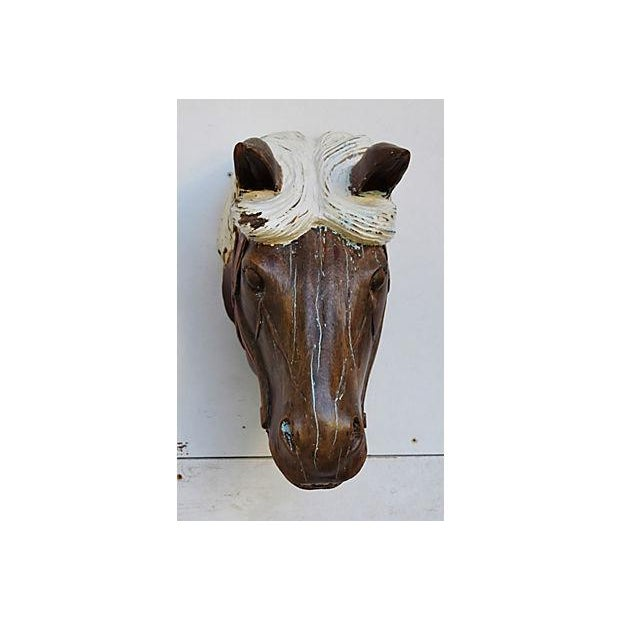 1940s Hand-Carved Carousel Horse Head - Wall Mounted - Image 3 of 11