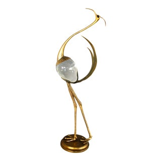 Franco Lafini Gold & Glass Crane Sculpture