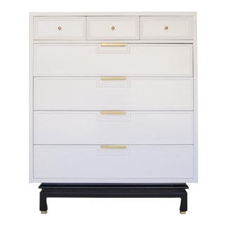 American of Martinsville Mid-Century Modern White Highboy Dresser