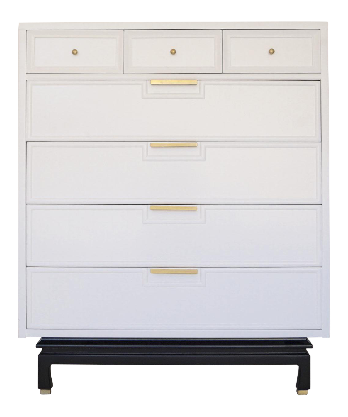 american of midcentury modern white highboy dresser