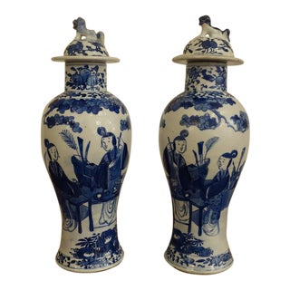 Antique Early 1800s Blue and White Jars - a Pair