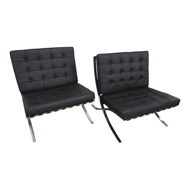 Modern Barcelona Chairs - a Pair - Image 1 of 7