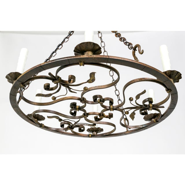 Hand Wrought Flat Leaf and Scroll Chandelier - Image 6 of 8