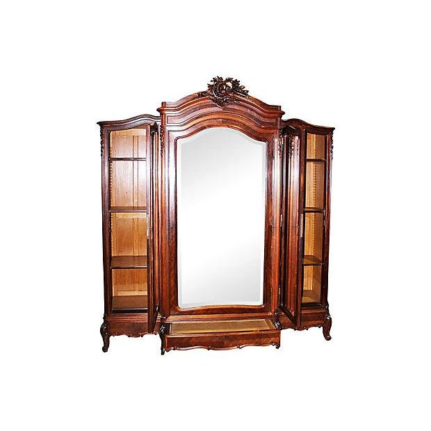 Antique French Rosewood 3-Door Armoire - Image 3 of 7