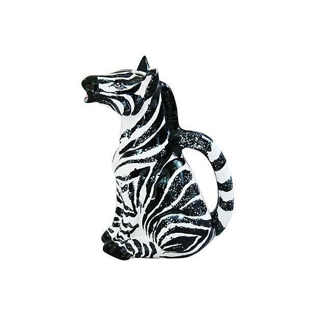 Vintage Hand Painted Italian Ceramic Zebra Pitcher - Image 6 of 7