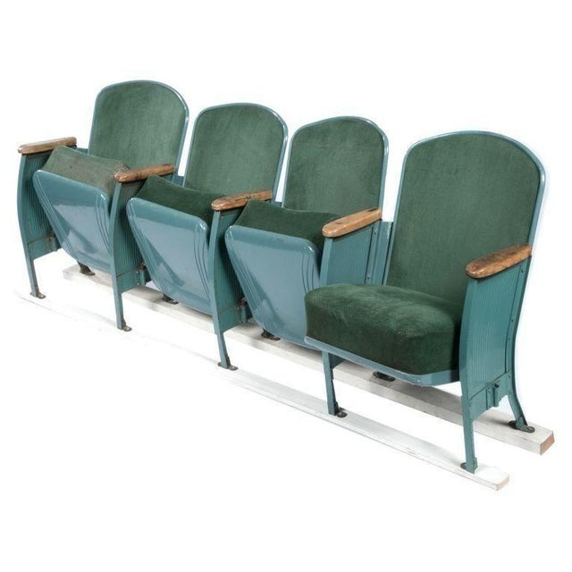 Vintage Velvet Theater Seats in Forest Green - Image 1 of 6