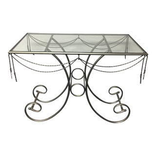 Glass Top Metal Accent Table
