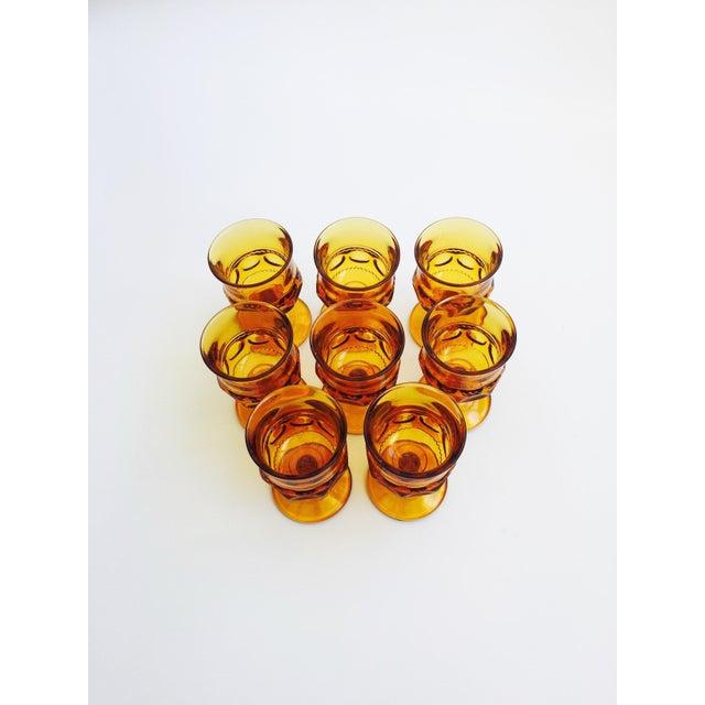 Vintage Amber Pressed Glass Goblets - Set of 8 - Image 3 of 5