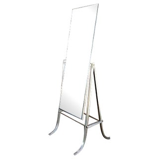 Vintage Standing Cheval Mirror With Leather Back