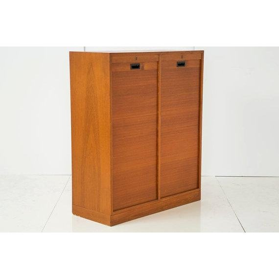 Danish Modern File Storage With 2 Tambour Doors - Image 2 of 6
