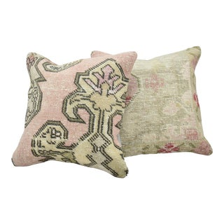 Vintage Turkish Handwoven Pink Rug Pillows - a Pair