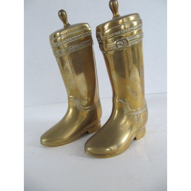 Vintage Brass Equestrian Boot Bookends - A Pair - Image 9 of 9