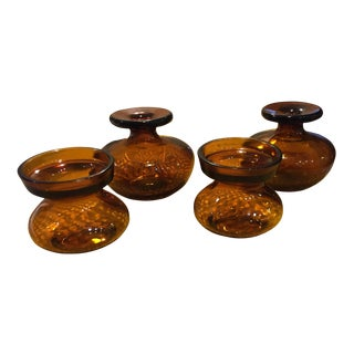 Vintage Amber Glass Vases from Finland - Set of 4