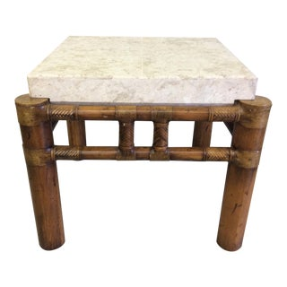 Henredon Bamboo, Leather & Travetine End Table
