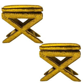 Billy Baldwin Velvet X-Benches- A Pair