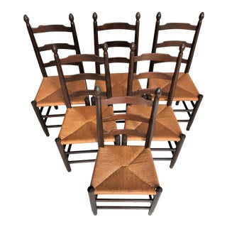 French Country American Primitive Ladder Back Rush Seat Chairs - Set of 6
