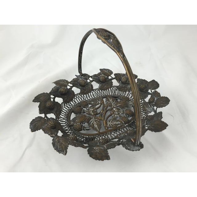 Detailed Copper Basket with Aged Patina - Image 3 of 4