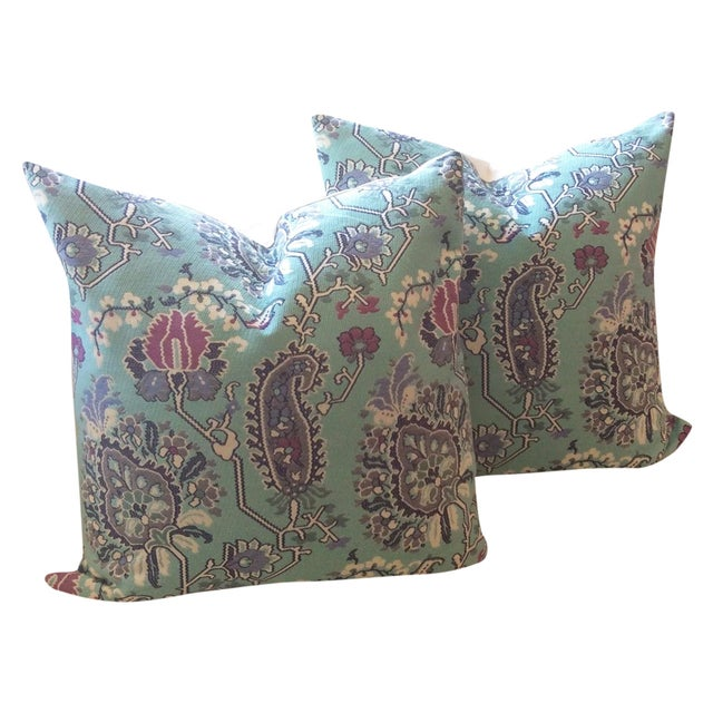 Turquoise & Pink Floral Pillows - A Pair - Image 1 of 5