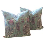Image of Turquoise & Pink Floral Pillows - A Pair