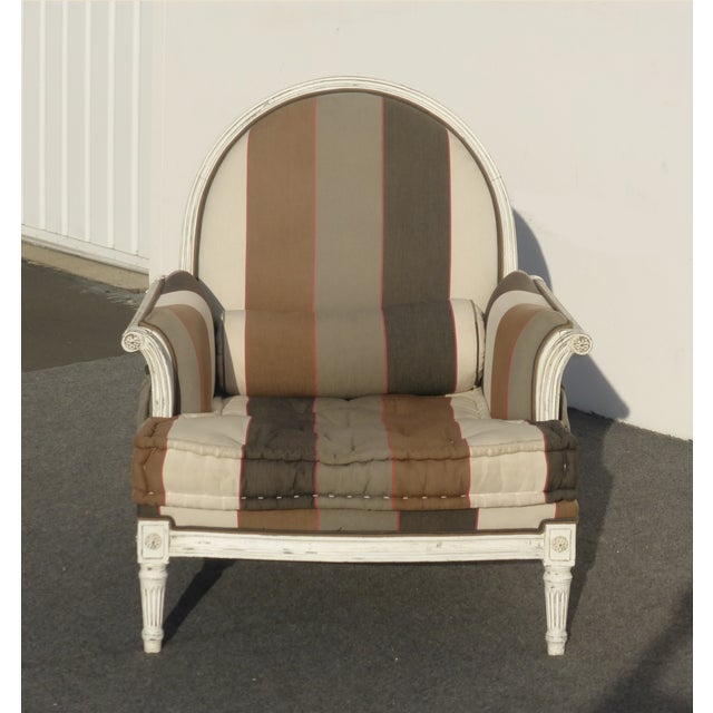 French Provincial Striped Upholstery Arm Chair - Image 2 of 11