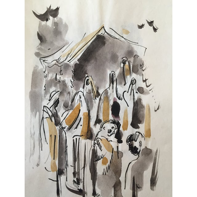 H. Davies Mid Century Modernist Watercolor Drawing - Image 3 of 4
