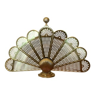 Vintage Brass Peacock Fireplace Screen