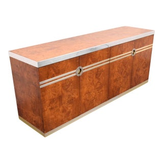 Pierre Cardin Burl Wood & Chrome Credenza