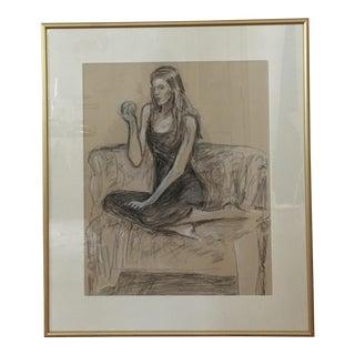 Gold Framed Portrait of Girl & Fruit