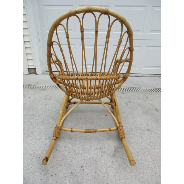Bamboo and Wicker Rocking Chair - Image 6 of 8