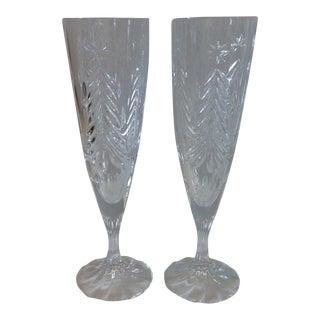 Mikasa Christmas Tree Champagne Flutes - Pair