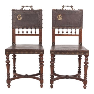 1880s English Renaissance Initialed Chairs - A Pair