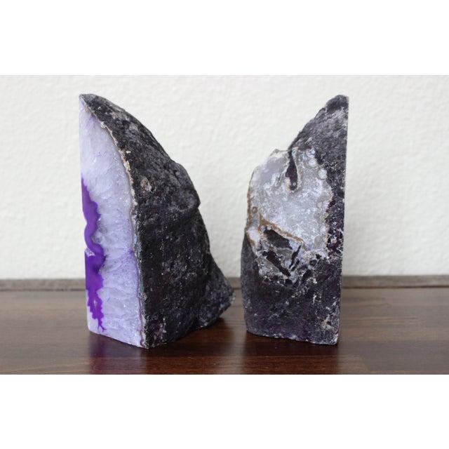 Hand-Cut Genuine Brazilian Purple Agate Bookends - Image 4 of 5
