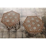 Image of Antique Syrian Inlaid Side Tables - A Pair