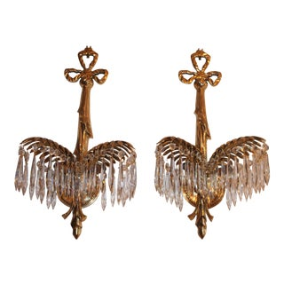 1940's French Hollywood Regency Solid Cast Brass Palm Frond Sconces - A Pair
