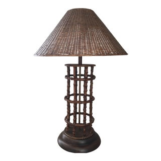 Vintage Rattan & Bamboo Table Lamp