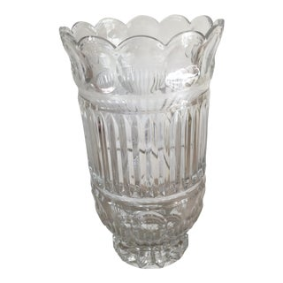 Vintage Carved Crystal Vase
