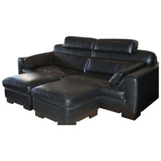 Black Leather Roche Bobois Sofa with Ottmans