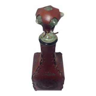 Vintage Italian Leather Wrapped Liquor Barware Glass Bottle