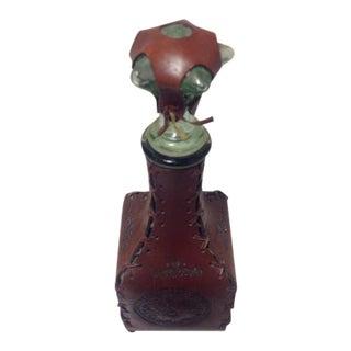 Vintage Italian Leather Wrapped Liquor Barware Glass Bottle