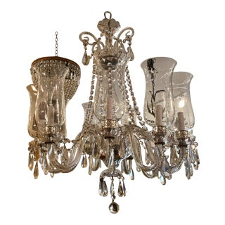 Superb Vintage Irish Crystal Chandelier w Hurricane Shades