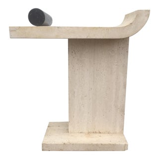 Vintage Travertine & Marble Console Table