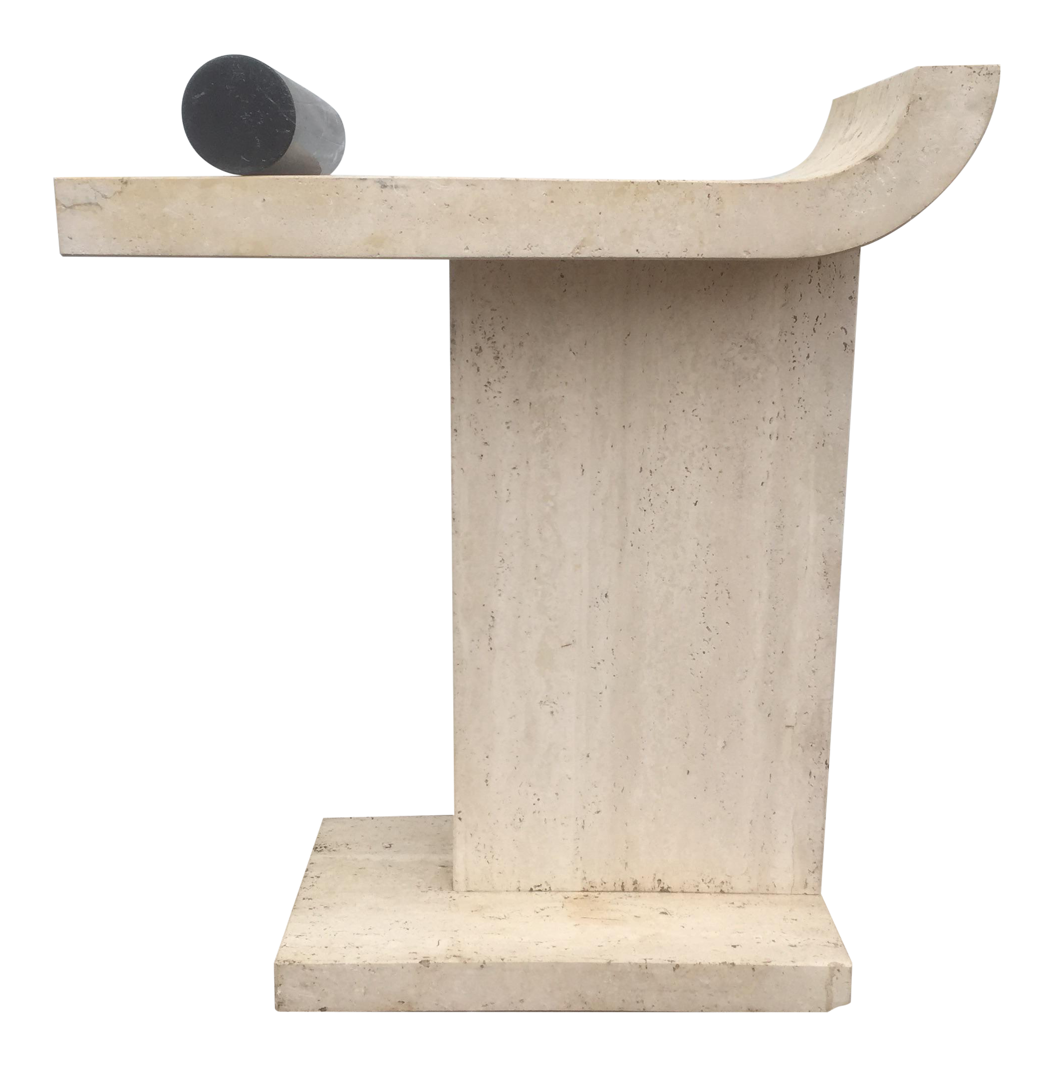 Vintage Travertine U0026 Marble Console Table
