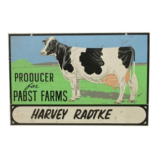 """Vintage Double Sided Metal """"Pabst Farms"""" Sign"""
