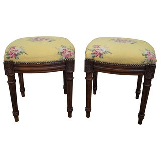 French Louis XVI Style Needlepoint Benches - Pair