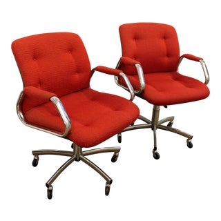 Mid-Century Danish Modern Red Chrome Steelcase Office Chairs on Wheels - a Pair